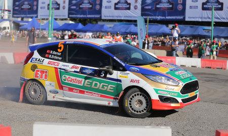 turkiye: KOCAELI, TURKEY - JUNE 11, 2016: Bugra Banaz drives Ford Fiesta R2T of Castrol Ford Team Turkiye in Kocaeli Rally Editorial