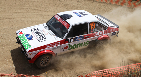 kap: KOCAELI, TURKEY - JUNE 12, 2016: Engin Kap drives Ford Escort MK2 of Bonus Unifree Parkur Racing Team in Kocaeli Rally