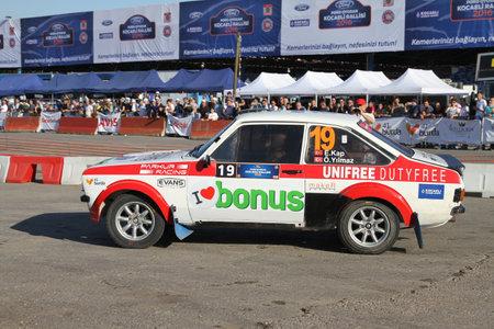 escort: KOCAELI, TURKEY - JUNE 11, 2016: Engin Kap drives Ford Escort MK2 of Bonus Unifree Parkur Racing Team in Kocaeli Rally Editorial