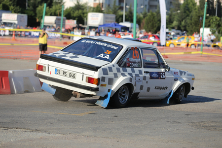 escort: KOCAELI, TURKEY - JUNE 11, 2016: Kemal Gamgam drives Ford Escort MK2 in Kocaeli Rally