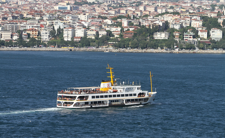 seaway: ISTANBUL, TURKEY - JUNE 25, 2016: Sehir Hatlari ferry carry passengers between Asian side to European side of Istanbul. Sehir Hatlari was established in 1844 and now carry 150,000 passengers a day. Editorial