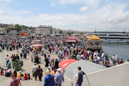 eminonu: ISTANBUL, TURKEY - JULY 07, 2016: People in Eminonu district where is one of the most populer shopping and historic destination in Istanbul.
