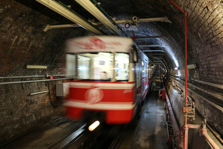 tunel: Old Tunnel Line between Karakoy and Istiklal Street in Istanbul city, Turkey