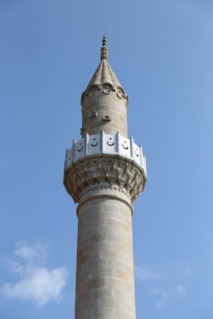 Minaret of Bodrum Castle Mosque in Mugla, Turkey