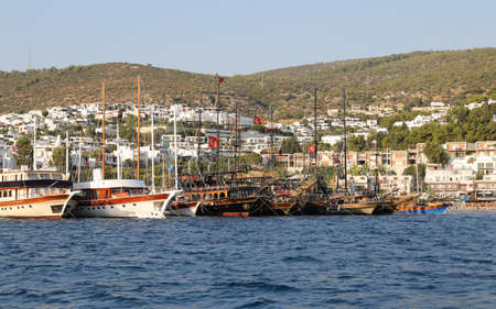 aegean: Boats in Coast of Bodrum Town, Aegean Turkey Stock Photo