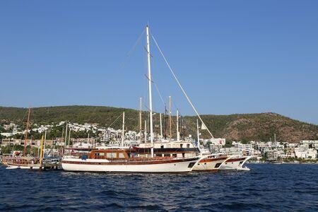mugla: Boats in Coast of Bodrum Town, Aegean Turkey Stock Photo