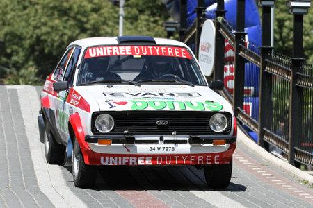BURSA, TURKEY - JULY 23, 2016: Engin Kap drives Ford Escort MK2 of Bonus Unifree Parkur Racing Team in special stage of Yesil Bursa Rally Editorial