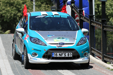 BURSA, TURKEY - JULY 23, 2016: Ismet Toktas drives Ford Fiesta R2 in special stage of Yesil Bursa Rally