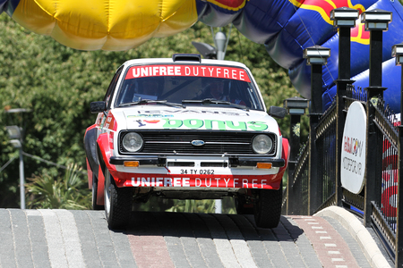BURSA, TURKEY - JULY 23, 2016: Burak Turkkan drives Ford Escort MK2 of Parkur Historic Team in special stage of Yesil Bursa Rally
