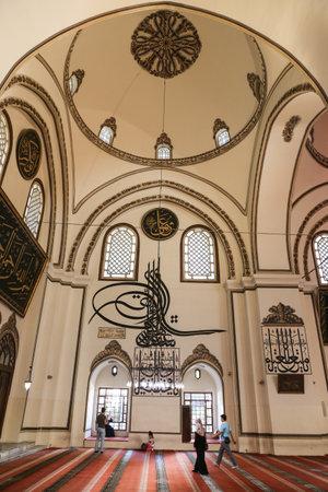 seljuk: BURSA, TURKEY - JULY 23, 2016: Inside of Grand Mosque of Bursa. Mosque was built in 1399 and has 20 domes, 2 minarets. Editorial