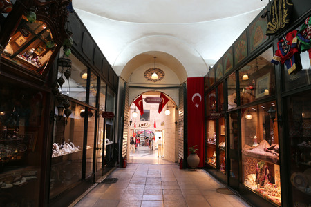 BURSA, TURKEY - JULY 23, 2016: Antique shop in old Kapalicarsi of Bursa. Kapalicarsi complex was started to be built from 15th century.