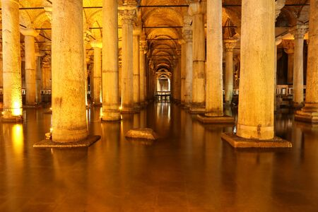 cistern: ISTANBUL, TURKEY - JULY 28, 2016: Columns and water inside Basilica Cistern. The Basilica Cistern is the largest of several hundred ancient cisterns that lie beneath the city of Istanbul.
