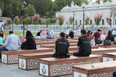 increased: ISTANBUL, TURKEY - JULY 27, 2016: Police forces in Sultanahmet square. Security measures increased after the terrorist attacks in Turkey