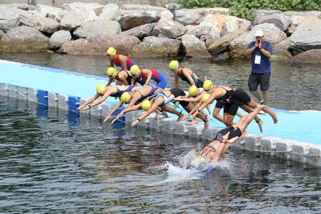 attempt: ISTANBUL, TURKEY - AUGUST 21, 2016: Athletes competing in swimming component of Istanbul Triathlon in Marmara Sea coast. 586 triathletes attempt to sixth Istanbul Thriathlon. Editorial