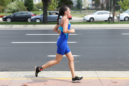 attempt: ISTANBUL, TURKEY - AUGUST 21, 2016: Athletes competing in running component of Istanbul Triathlon in Marmara Sea coast. 586 triathletes attempt to sixth Istanbul Thriathlon. Editorial