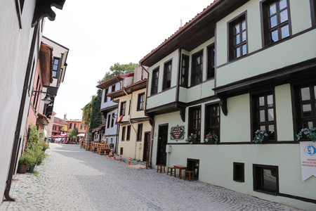 touristy: ESKISEHIR, TURKEY - SEPTEMBER 03, 2016: Old buildings in historic Odunpazari district. Odunpazari is one of the most populer touristy district with old Ottoman Buildings in Eskisehir. Editorial