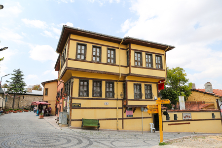 touristy: ESKISEHIR, TURKEY - SEPTEMBER 03, 2016: Old building in historic Odunpazari district. Odunpazari is one of the most populer touristy district with old Ottoman Buildings in Eskisehir. Editorial