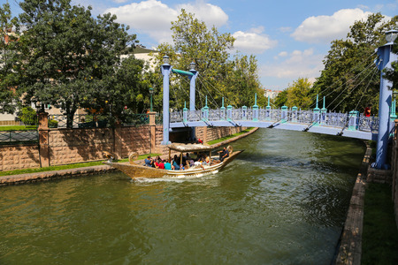 touristy: ESKISEHIR, TURKEY - SEPTEMBER 03, 2016: Gondola tour in Porsuk river. Porsuk river is one of the most populer touristy place with boat tours and entertainment in Eskisehir. Editorial