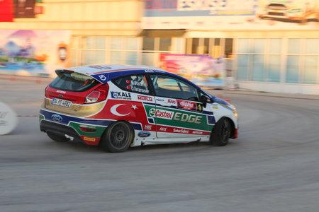 turkiye: ESKISEHIR, TURKEY - SEPTEMBER 03, 2016: Murat Bostanci drives Ford Fiesta R2T of Castrol Ford Team Turkiye in special stage of Eskisehir Rally