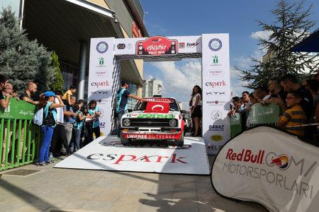 escort: ESKISEHIR, TURKEY - SEPTEMBER 03, 2016: Engin Kap with Ford Escort MK2 of Bonus Unifree Parkur Racing Team in ceremonial start of Eskisehir Rally