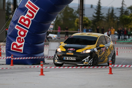 ESKISEHIR, TURKEY - SEPTEMBER 03, 2016: Can Altınok drives Ford Fiesta R2 in special stage of Eskisehir Rally