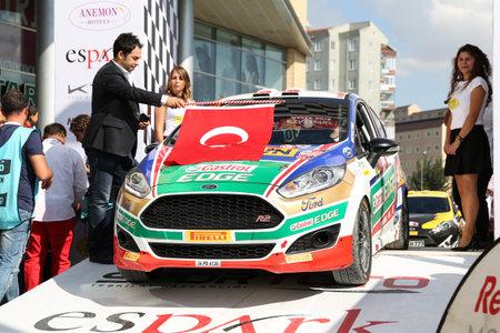 turkiye: ESKISEHIR, TURKEY - SEPTEMBER 03, 2016: Umitcan Ozdemir with Ford Fiesta R2T of Castrol Ford Team Turkiye in ceremonial start of Eskisehir Rally Editorial