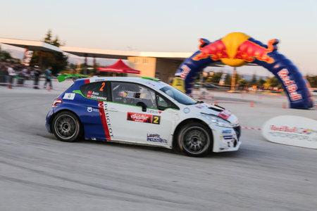 ESKISEHIR, TURKEY - SEPTEMBER 03, 2016: Yagiz Avci drives Peugeot 208 T16 R5 of Neomotorspor Team in special stage of Eskisehir Rally Editöryel