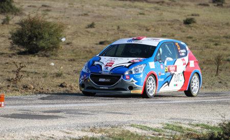 aras: ESKISEHIR, TURKEY - SEPTEMBER 03, 2016: Aras Dincer drives Peugeot 208 R2 of BC Vision Motorsport Team in Eskisehir Rally