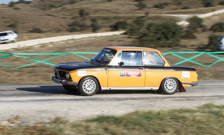 ESKISEHIR, TURKEY - SEPTEMBER 03, 2016: Haydar Guclu drives BMW 2002 in Eskisehir Rally