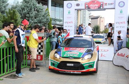 turkiye: ESKISEHIR, TURKEY - SEPTEMBER 03, 2016: Orhan Avcioglu with Ford Fiesta S2000 of Castrol Ford Team Turkiye in ceremonial start of Eskisehir Rally