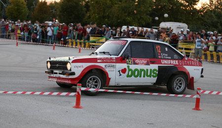escort: ESKISEHIR, TURKEY - SEPTEMBER 03, 2016: Engin Kap drives Ford Escort MK2 of Bonus Unifree Parkur Racing Team in special stage of Eskisehir Rally