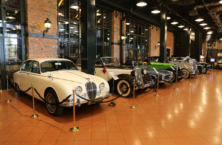 ISTANBUL, TURKEY - JULY 29, 2016: Classic cars in Rahmi M. Koc Industrial Museum. Koc museum has one of the biggest classic car collection in Turkey.