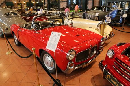 fiat: ISTANBUL, TURKEY - JULY 29, 2016: 1959 Fiat 1100 Turismo Veloce in Rahmi M. Koc Industrial Museum. Fiat 1100 is a small family car produced from 1953 to 1969 Editorial