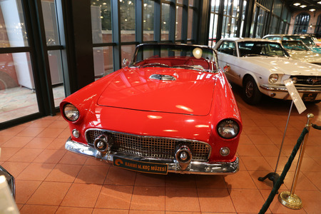 ISTANBUL, TURKEY - JULY 29, 2016: 1956 Ford Thunderbird in Rahmi M. Koc Industrial Museum. Thunderbird was manufactured over eleven model generations from 1955 through 2005