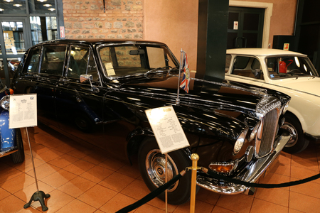 daimler: ISTANBUL, TURKEY - JULY 29, 2016: Daimler limousine DS420 in Rahmi M. Koc Industrial Museum. Daimler limousine DS420 have been used by the British, Danish and Swedish royal houses