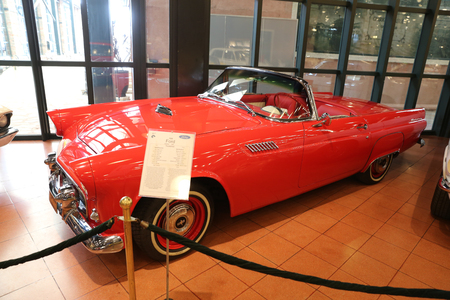 thunderbird: ISTANBUL, TURKEY - JULY 29, 2016: 1956 Ford Thunderbird in Rahmi M. Koc Industrial Museum. Thunderbird was manufactured over eleven model generations from 1955 through 2005