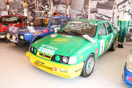 rally car: ISTANBUL, TURKEY - JULY 29, 2016: Ford Rally car in Rahmi M. Koc Industrial Museum. Koc museum is industrial Museum dedicated to history of transport, industry and communications