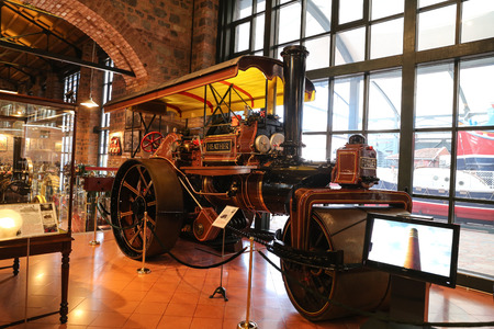 steam roller: ISTANBUL, TURKEY - JULY 29, 2016: John Fowler Co. steam roller in Rahmi M. Koc Industrial Museum. Koc museum has one of the biggest classic car collection in Turkey. Editorial