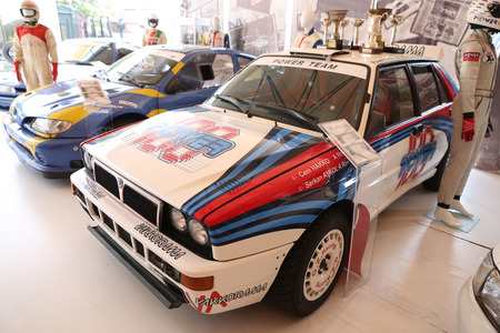 rally car: ISTANBUL, TURKEY - JULY 29, 2016: Lancia Rally car in Rahmi M. Koc Industrial Museum. Koc museum is industrial Museum dedicated to history of transport, industry and communications Editorial