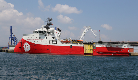 ISTANBUL, TURKEY - JULY 30, 2016: RV Barbaros Hayreddin Pasa seismographic research and survey vessel in Haydarpasa Port. Ship owned and operated by the Turkish Petroleum Corperation.