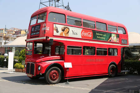 ISTANBUL, TURKEY - JULY 29, 2016: Red Double Decker in Rahmi M. Koc Industrial Museum. Koc museum is industrial Museum dedicated to history of transport, industry and communications Editorial
