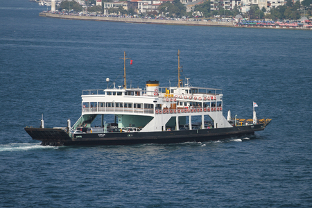 ISTANBUL, TURKEY - JULY 30, 2016: Istanbul Deniz Otobusleri ferry carry passangers  between Asian and European sides of Istanbul. 18 ferries in 3 types carry passengers between Sirkeci and Harem. Editorial
