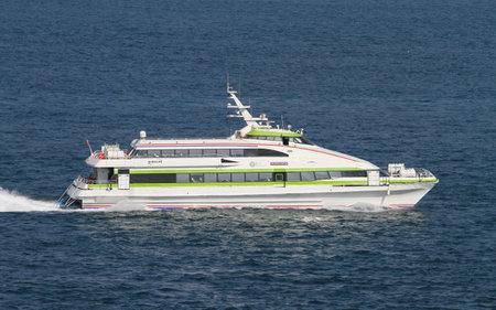 seaway: ISTANBUL, TURKEY - JULY 30, 2016: Burulas ferry carry passengers between Istanbul and Bursa city. Burulas is transport company of Bursa Metropolitan Municipality.