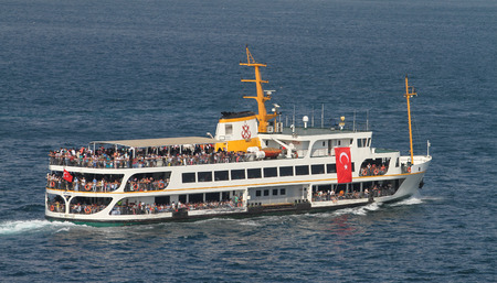 seaway: ISTANBUL, TURKEY - JULY 30, 2016: Sehir Hatlari ferry carry passengers between Asian and European sides of Istanbul. Sehir Hatlari was established in 1844 and now carry 150,000 passengers a day. Editorial