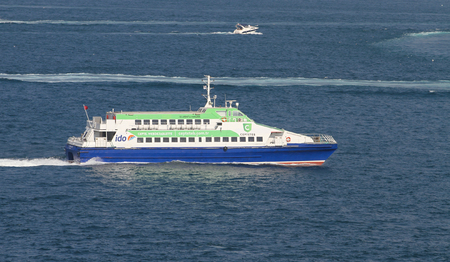 seabus: ISTANBUL, TURKEY - JUNE 25, 2016: Istanbul Deniz Otobusleri ferry carry passengers in Istanbul. IDO has 53 ships and 35 terminals in Istanbul City