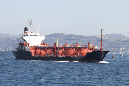 lpg: LPG Tanker Ship Passing in Bosphorus Strait Stock Photo