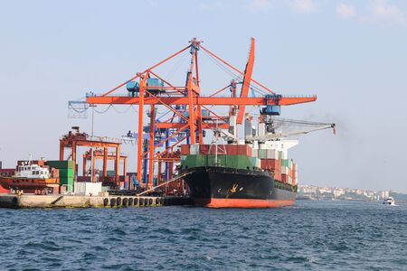 bulk: Container Ship is loading in a port