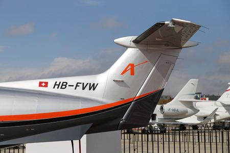 aerospace: ISTANBUL, TURKEY - OCTOBER 08, 2016: AMAC Aerospace Pilatus PC-1247E showcases in Istanbul Airshow. Airshow held in Istanbul Ataturk Airport and 162 companies from 38 countries are participated