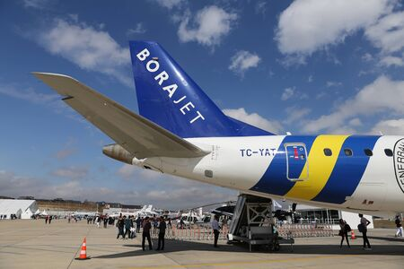 ISTANBUL, TURKEY - OCTOBER 08, 2016: Borajet Embraer 190-200IGW showcases in Istanbul Airshow. Airshow held in Istanbul Ataturk Airport and 162 companies from 38 countries are participated Editorial