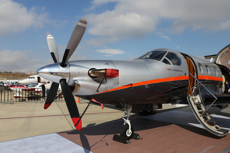 ISTANBUL, TURKEY - OCTOBER 08, 2016: AMAC Aerospace Pilatus PC-1247E showcases in Istanbul Airshow. Airshow held in Istanbul Ataturk Airport and 162 companies from 38 countries are participated
